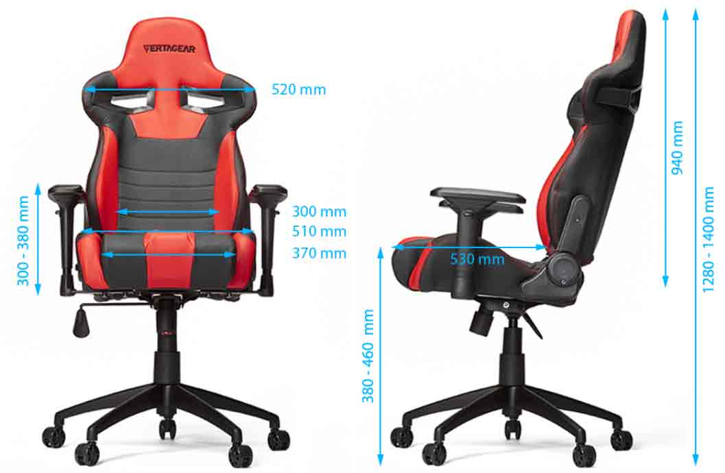 Vertagear SL4000 dimensions et inclinaisons