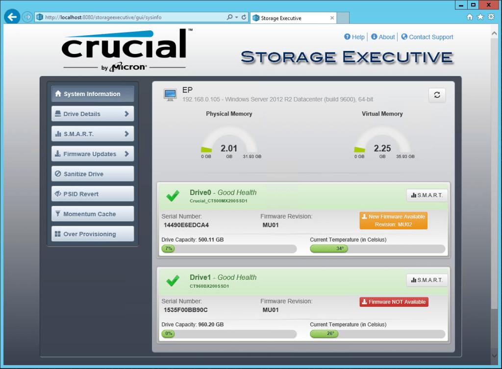 Crucial Storage Executive 3.24 1024x753
