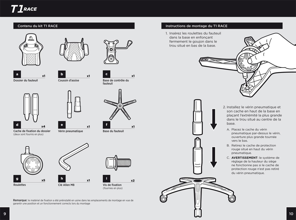 montage chaise gamer Corsair T1 Race