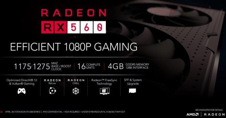 AMD Radeon RX 560 1024 SPs 16 CU