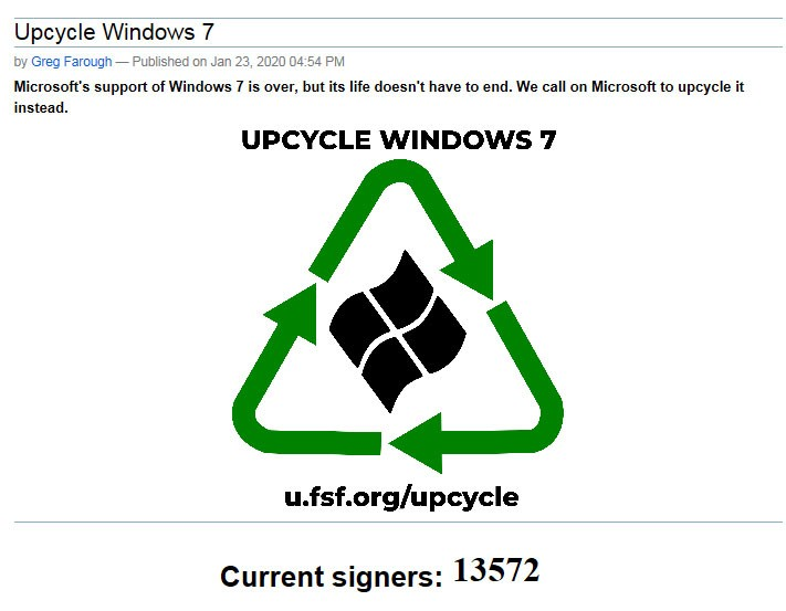 Free Software Foundation Windows 7 en open source