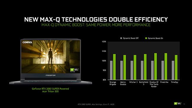 nvidia max-q rtx 2080 spec sur control