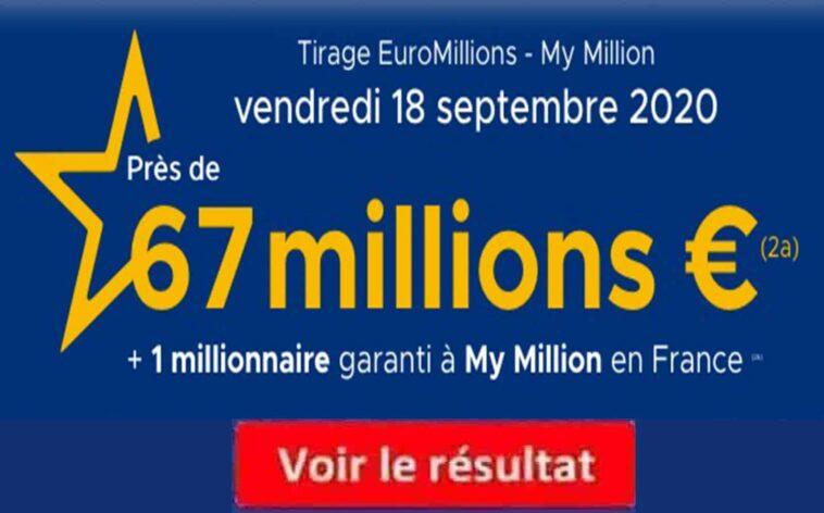 resultat Euromillion 18 septembre 2020