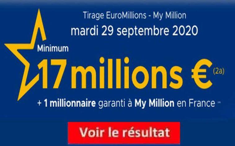 Resultat Euromillions 29 septembre 2020 tirage fdj