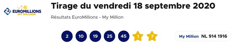Resultat Euromillions 18 septembre 2020