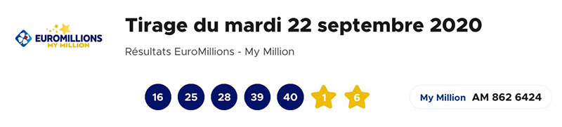 Resultat Euromillions et My Million 22 Septembre 2020
