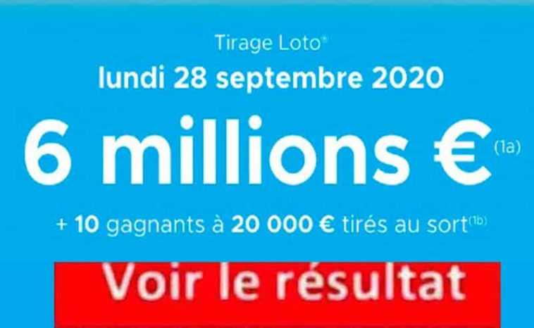 Resultat LOTO 28 Septembre 2020 Tirage FDJ