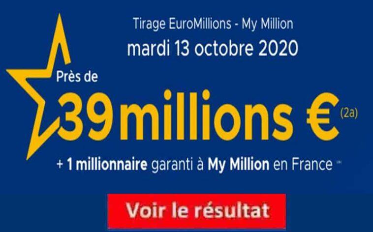 Resultat Euromillion 13 octobre 2020 tirage fdj et gains