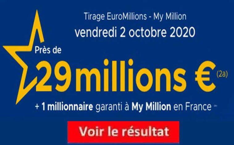 Resultat Euromillions 2 octobre 2020 tirage fdj
