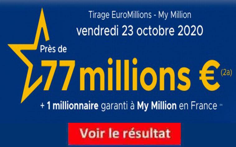Resultat Euromillion 23 Octobre 2020 tirage fdj