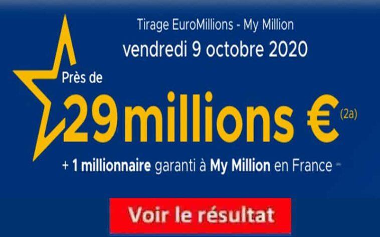 Resultat Euromillion 9 octobre 2020 tirage fdj