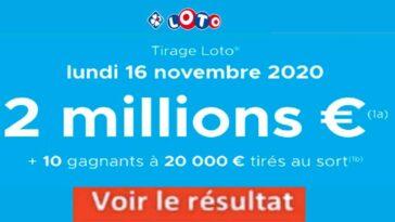Resultat LOTO 16 Novembre 2020 joker+ et codes loto gagnant