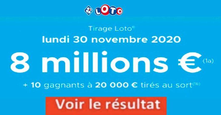 Resultat LOTO 30 Novembre 2020 joker+ et codes loto gagnant tirage FDJ
