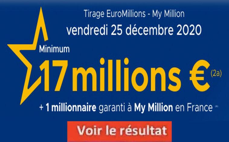 Resultat Euromillion 25 decembre 2020 avec la grille des gains