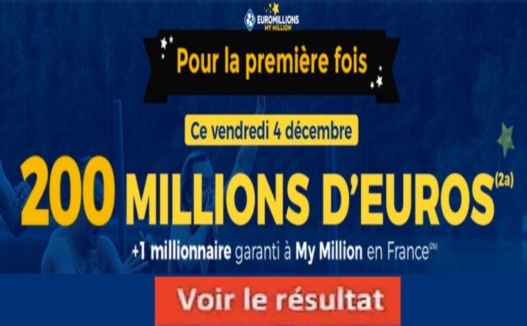 Resultat Euromillion 4 Décembre 2020 mega jackpot et grille des gains