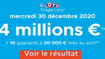 Resultat LOTO 30 décembre 2020 joker+ et codes loto gagnant