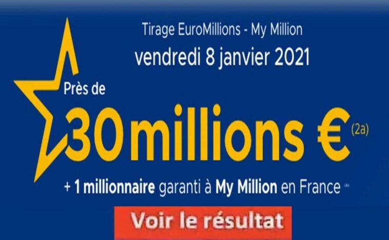 Resultat Euromillion 8 janvier 2021