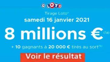 Résultat LOTO 16 Janvier 2021 joker+ codes loto gagnants